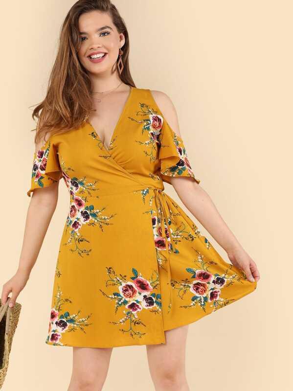 Plus Cold Shoulder Floral Wrap Dress, Faith Bowman