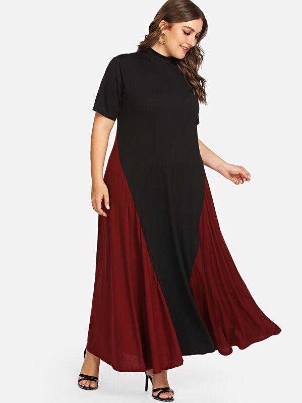 Plus Stand Neck Cut And Sew Dress, Franziska