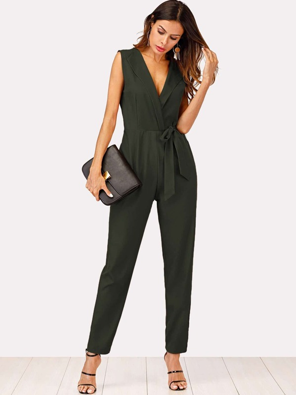 Zip Back Shawl Collar Knot Jumpsuit, Andy