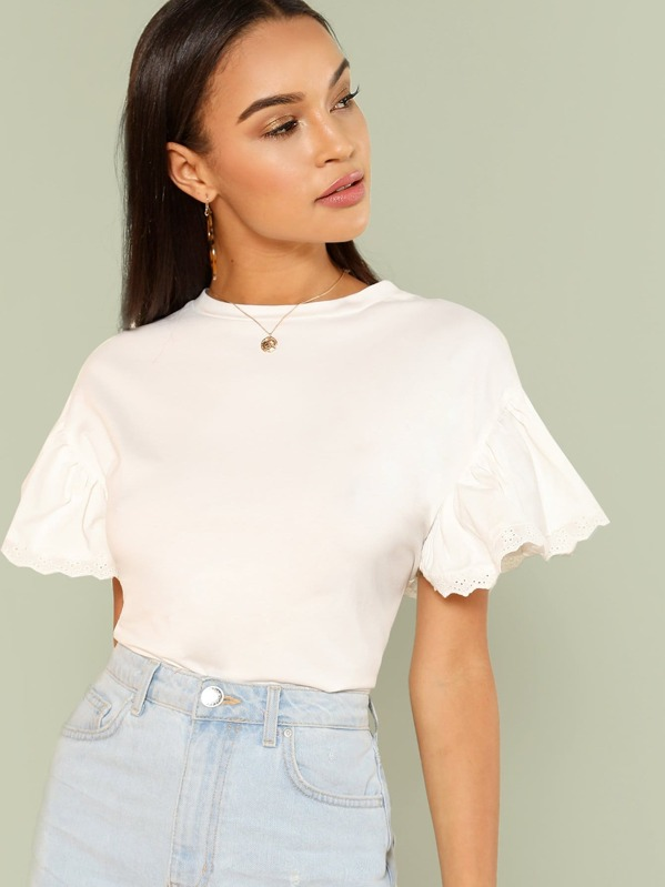 Eyelet Embroidered Trim Ruffle Sleeve Tee