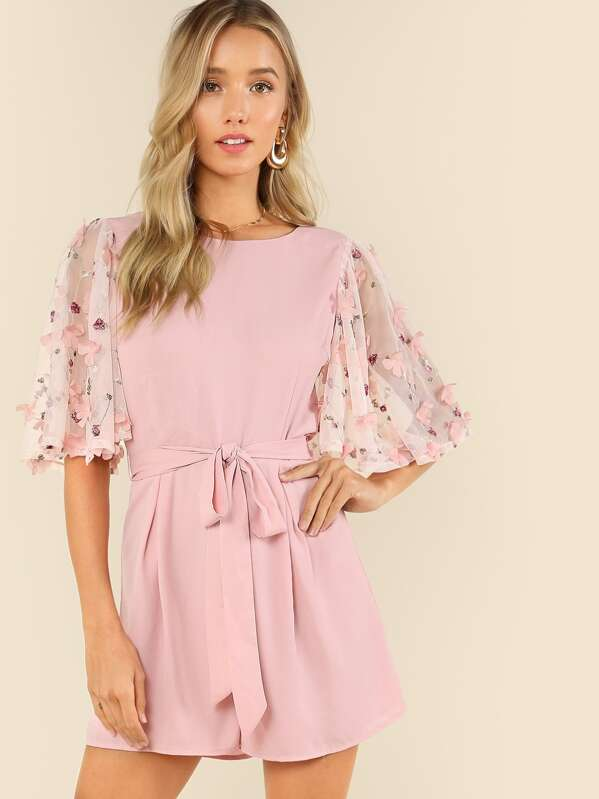3D Applique Embroidered Mesh Flutter Sleeve Belted Romper, Racquelle Lawrence