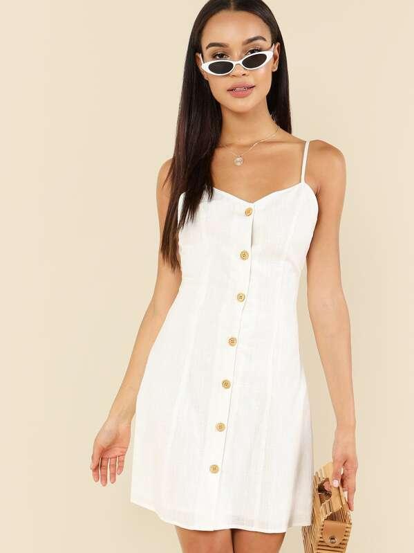 Crisscross Back Button Through Cami Dress, Juliette