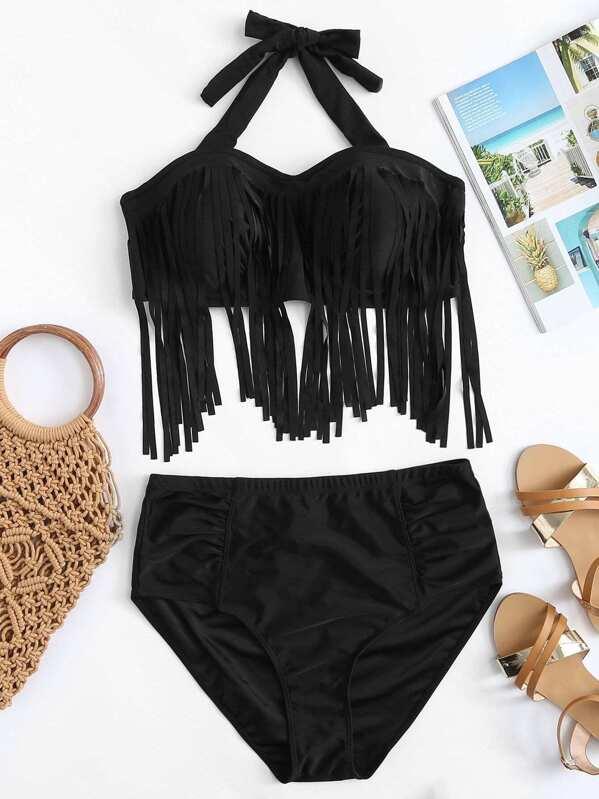 Plus Fringe Halter Top With Ruched Bikini Set