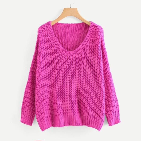 Neon Pink V Neck Drop Shoulder Oversized Sweater