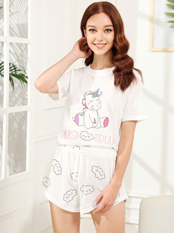 Unicorn & Cloud Print Pajama Set