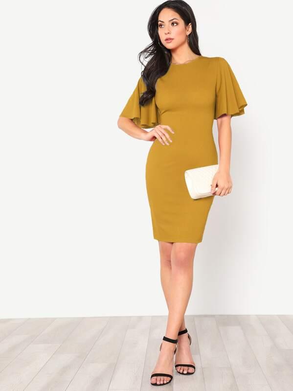 Flutter Sleeve Zip Back Bodycon Dress, Christen Harper