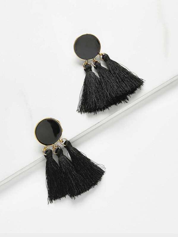 Round Detail Tassel Drop Earrings 1pair, null