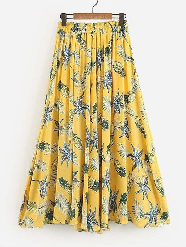 Foliage Print Skirt, null