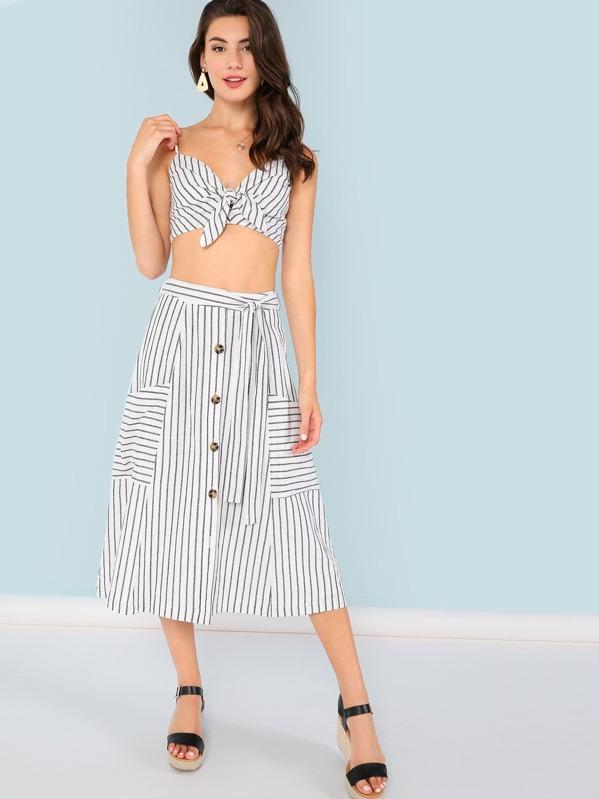 Striped Print Crop Cami Top & Button Up Skirt Set, Zandria Theis