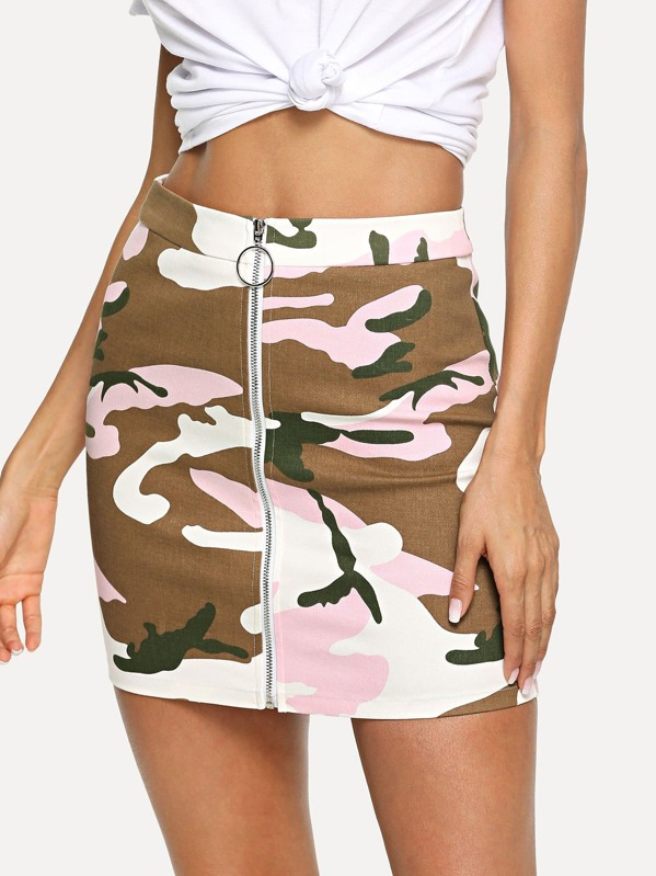 Zip Front Camouflage Print Bodycon Skirt, Andy