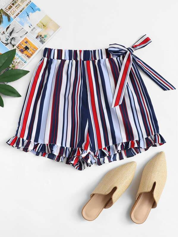 Knot Side Frill Hem Striped Shorts, null