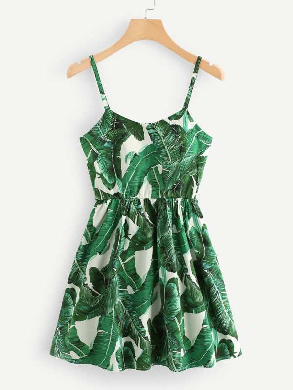 Tropic Print Lace Up Back Cami Dress, null