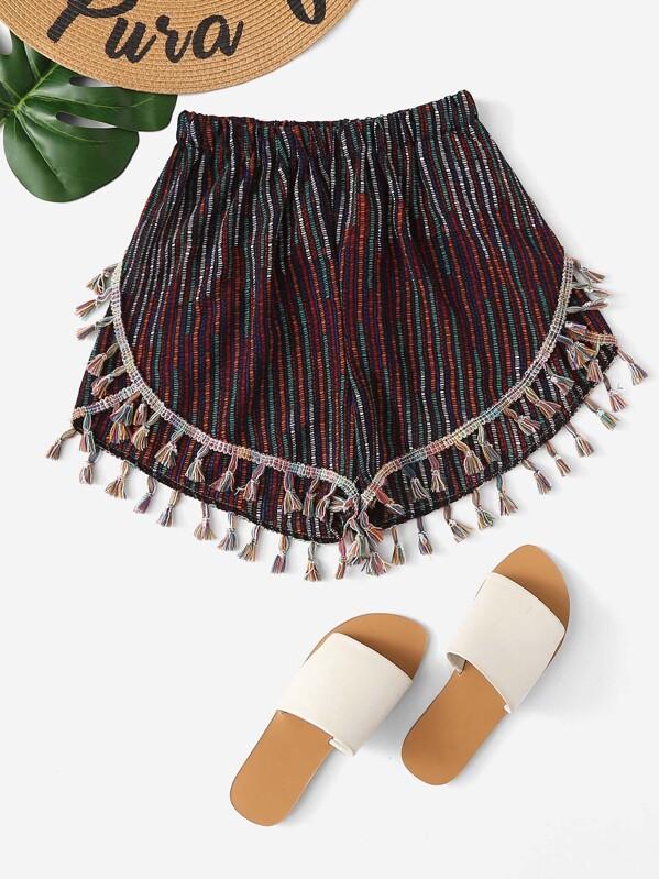 Fringe Trim Striped Shorts, null