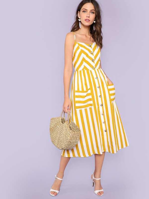 Button Through Shirred Back Pocket Striped Cami Dress, Zorana