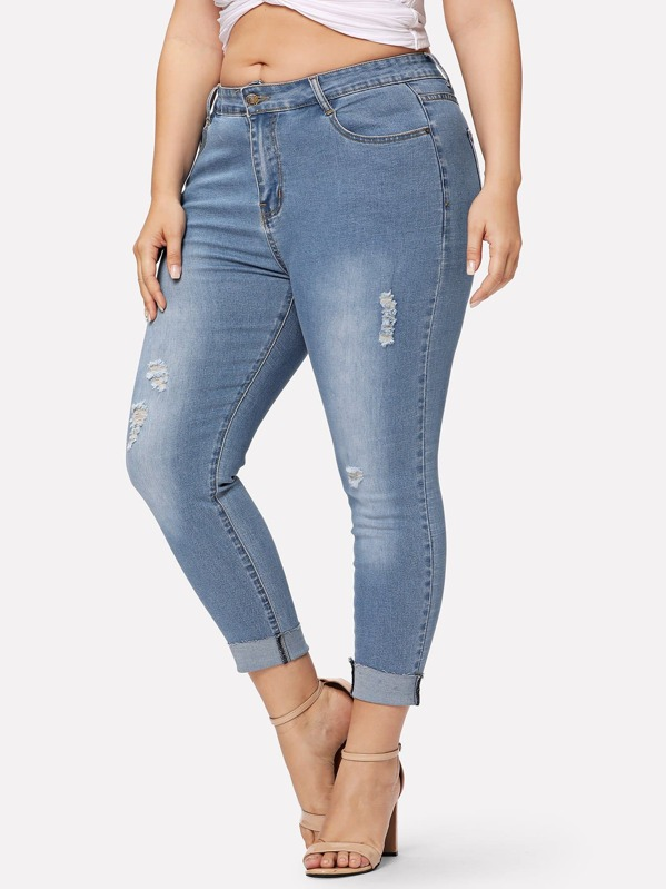 Plus Faded Wash Ripped Rolled Up Hem Jeans, Franziska