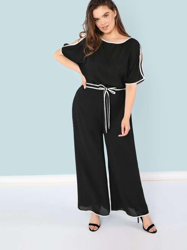Plus Contrast Binding Slit Sleeve Top & Wide Leg Pants Set, Faith Bowman