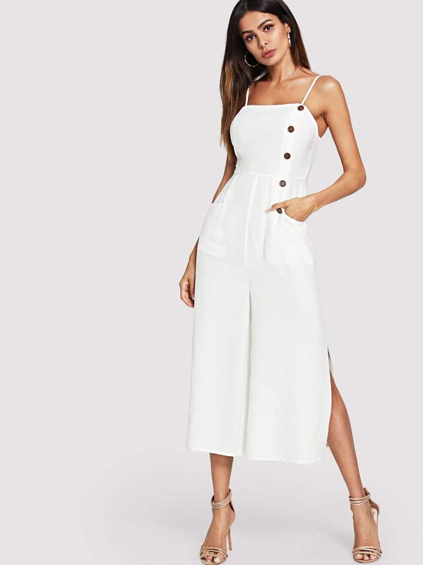 Button and Pocket Front Slit Wide Leg Jumpsuit, Andy