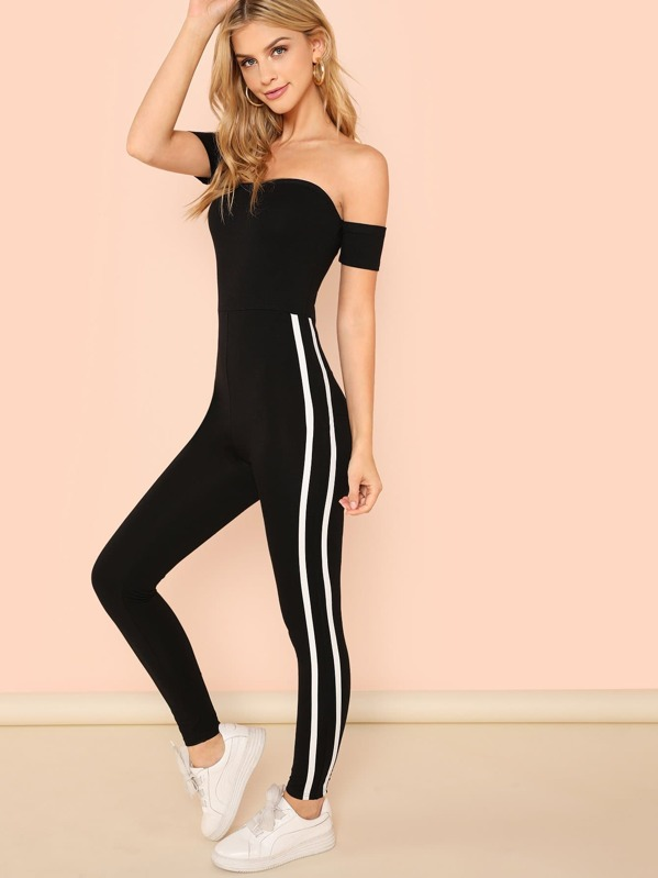 Off Shoulder Contrast Binding Side Fitted Jumpsuit, Marina Laswick
