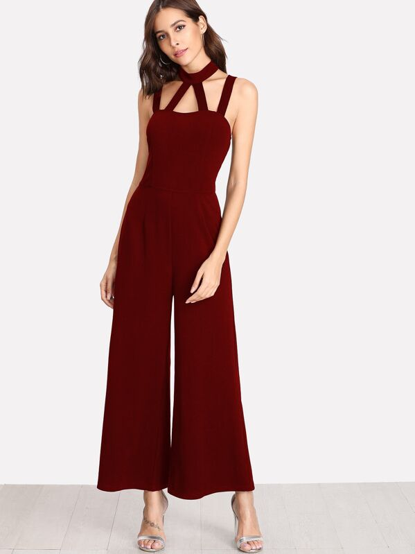 Caged Front Solid Wide Leg Jumpsuit, Allie Leggett