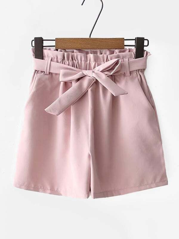 Frill Trim Belted Shorts, null