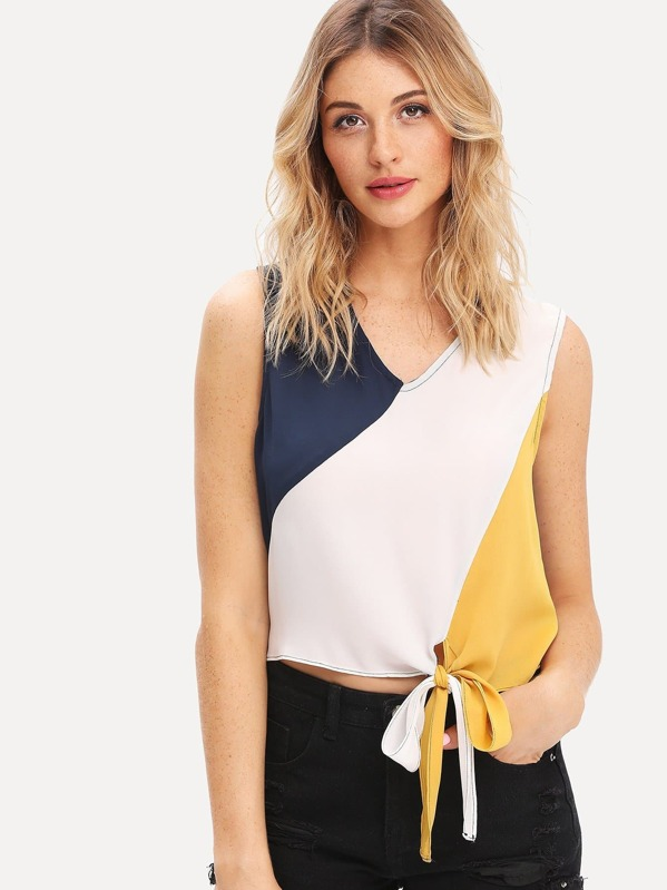 Cut and Sew Knot Hem Top, Nathane