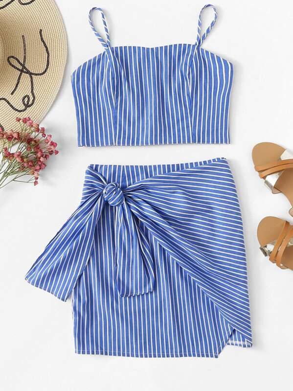 Striped Cami Top With Knot Side Skirt, null