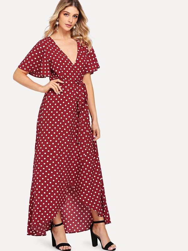 V Neck Polka Dot Print Dress, Nathane