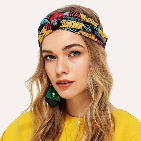 Jungle Print Twist Headband, Multicolor