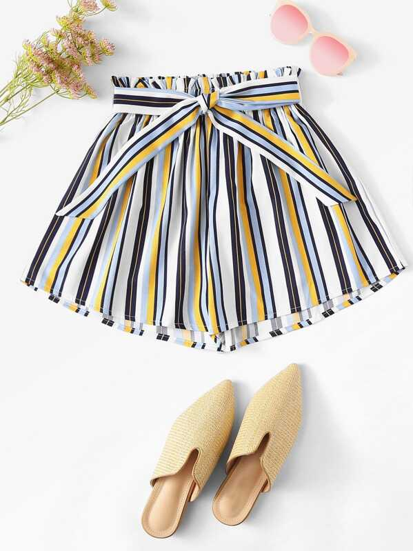 Frill Trim Striped Shorts, null