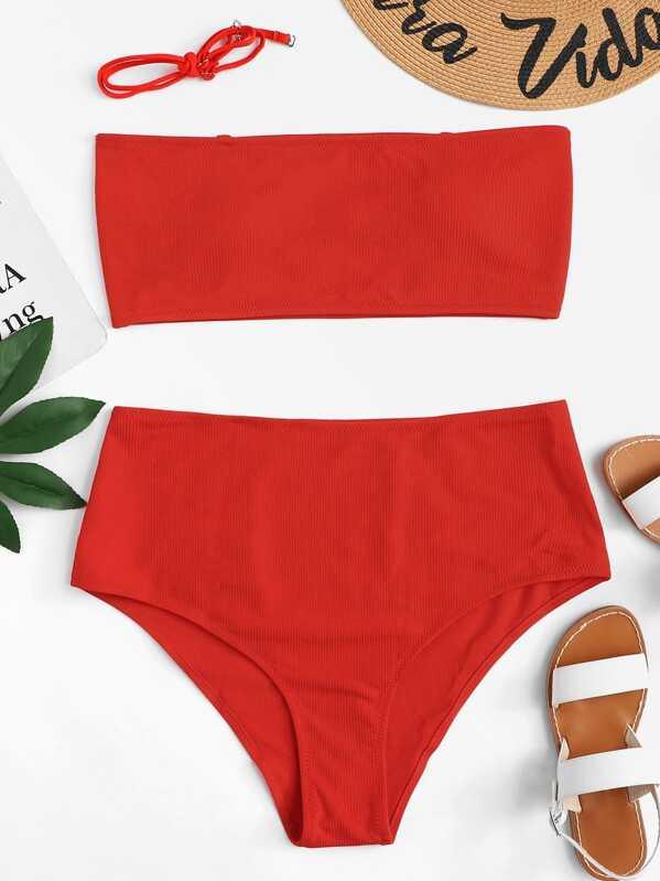 Plus Bandeau With Rib Knit Bikini Set, null