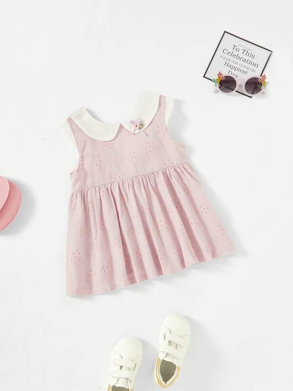 Платье с завязкой для девочек с вышивкой, null