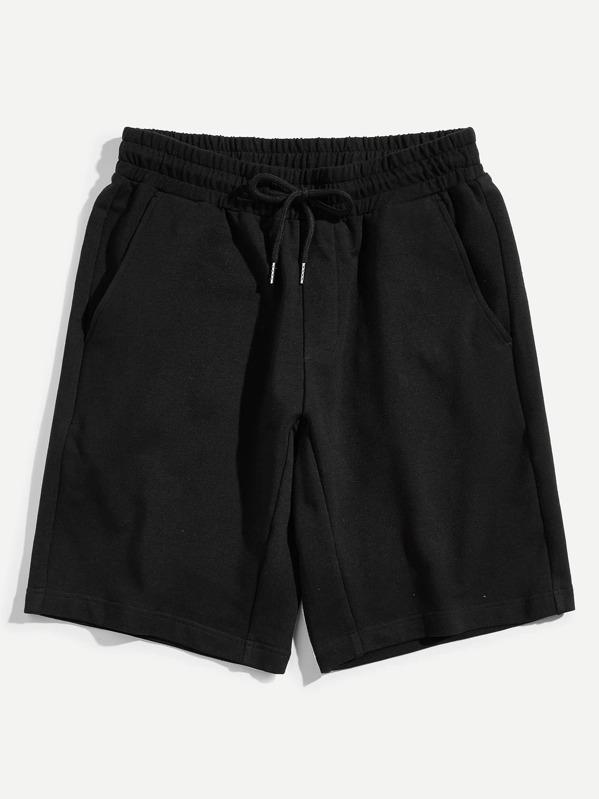 Men Drawstring Waist Solid Sweat Shorts