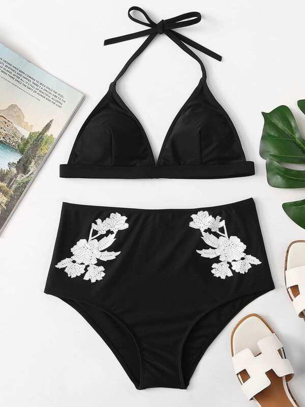 Halter Top With Floral High Waist Bikini Set