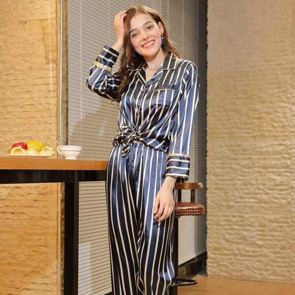 Striped Knot Hem Pajama Set