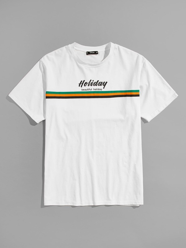 Men Letter & Stripe Print T-shirt