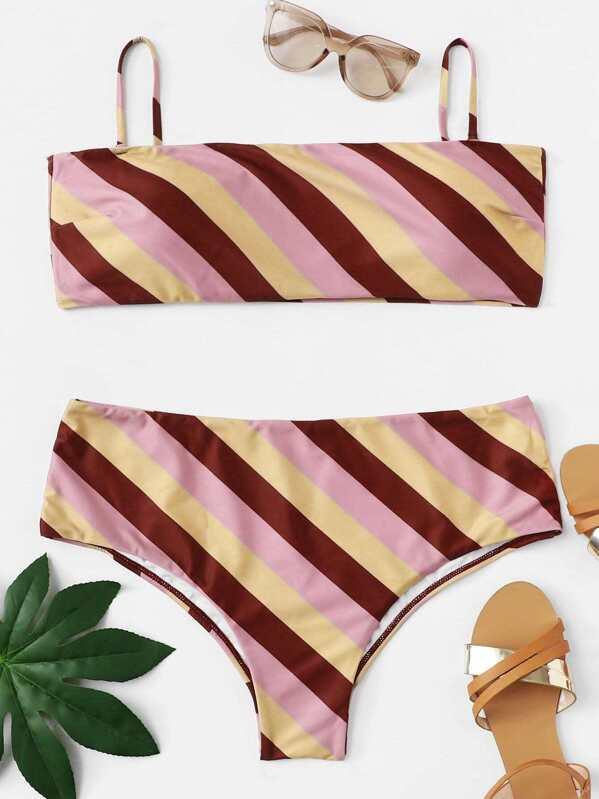 Plus Colorblock Striped Bikini Set, null