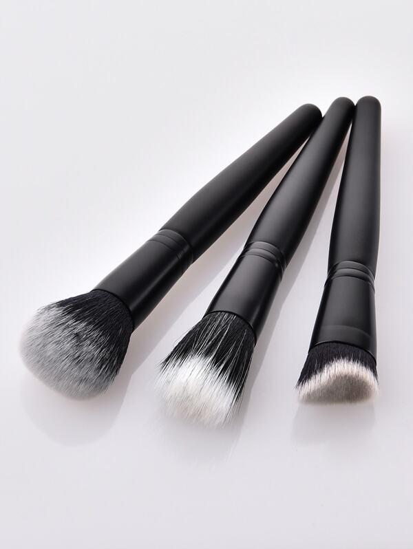 Plain Handle Makeup Brush 3pcs, null