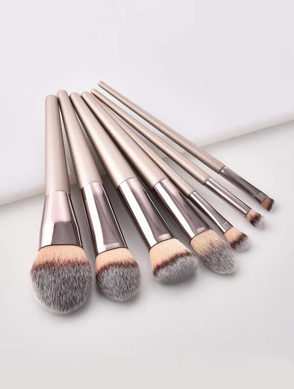 Metallic Handle Makeup Brush 7pcs, null