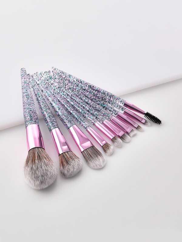Glitter Handle Makeup Brush 10pcs, null