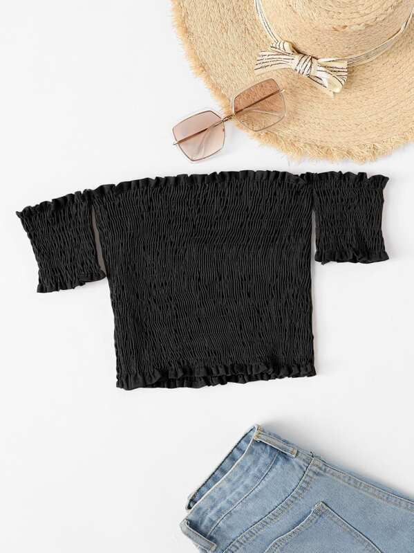 Off Shoulder Frill Edge Shirred Crop Top, null