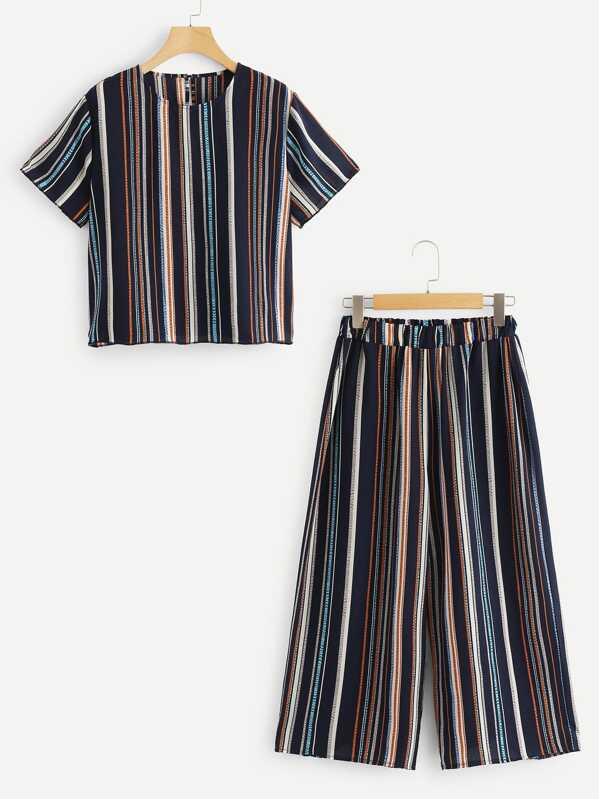 Plus Round Neck Striped Top With Pants, null