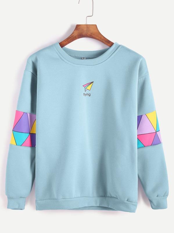 Pale Blue Patchwork Print Sweatshirt, null