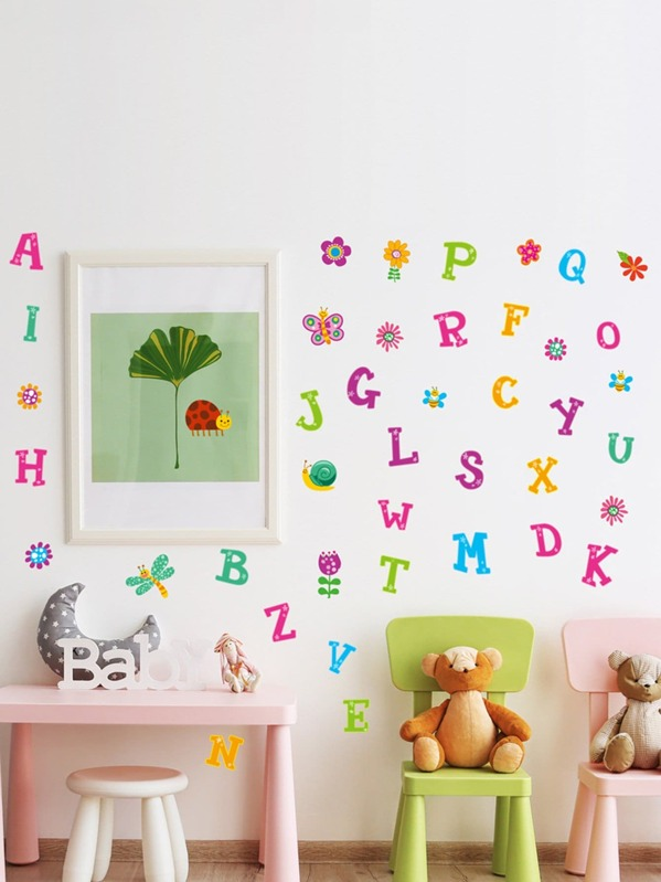 Letter & Floral Wall Sticker
