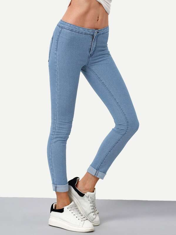 Bleach Wash Roll Hem Skinny Jeans, null