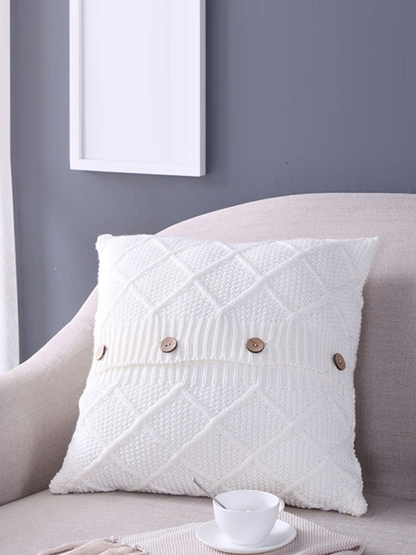 Button Detail Knit Cushion Cover, null