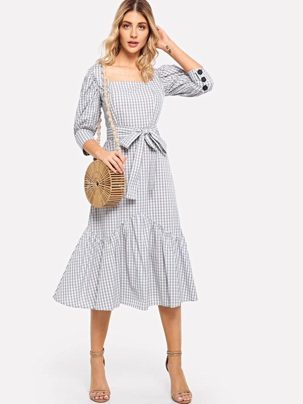 Puff Sleeve Ruffle Hem Plaid Belted Dress, Nathane