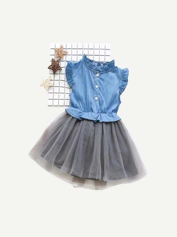 Джинсовое сетчатое платье с кружевными оборками для девочки, null
