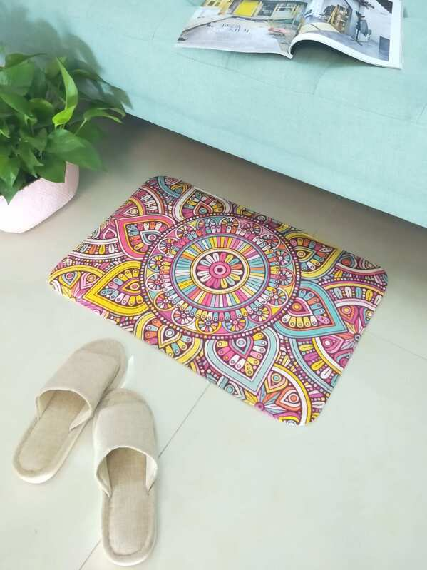 Symmetrical Flower Print Floor Mat