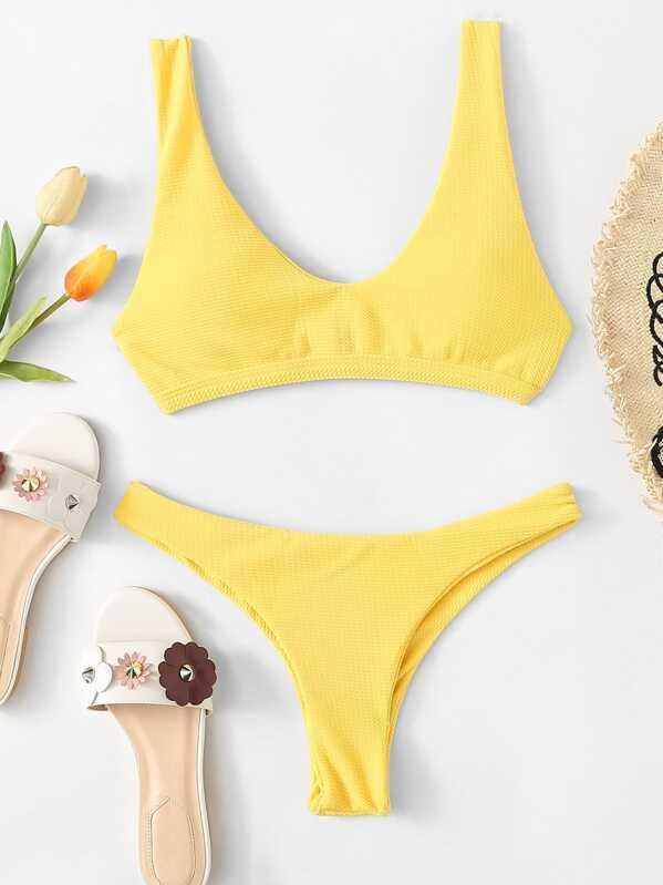Neon Yellow Scoop Neckline Top With Textured Bikini Set