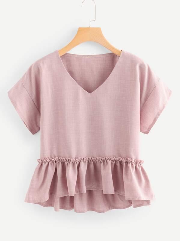 V Neckline Pep Hem Blouse, Pink